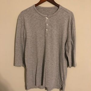 Five Four 3/4 sleeve henley, L heather gray